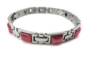 Hot Style Energy Nano Power Scalar Balance Negative Ion BRACELET With Magnet And Germanium Stones + an Energy Card of 2K Negative Ions. INCLUDED)- 116BR PINK colour