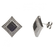 New Mens/unisex Sterling Silver Cz Black & White Square Kite Stud Earrings-11mm