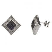 New Mens/unisex Sterling Silver Cz Black & White Square Kite Stud Earrings-11mm
