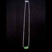 Green / Light Blue Silver CZ Necklace