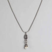 Silvertone Necklace & Bracelet Set with White Gem