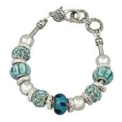 Aqua Blue Murano Bead Bracelet with Crystal Charms