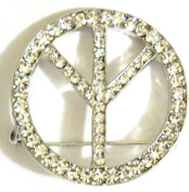"Crystal Brooch Lapel Pin ""PEACE"""