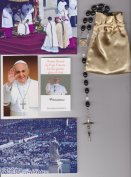Saint Benedict Rosary Blessed by Pope Francis on 3/19/2013 at Inauguration Mass Patron of Exocism, Against Devil Black Wooden Beads 50cm