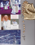 Saint Agatha Relic Rosary Blessed by Pope Francis on 3/19/2013 at Inauguration Mass Patron of Breast Cancer 50cm Beige Wooden Beads