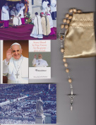 Saint Alphonsus Liguori Relic Rosary Blessed by Pope Francis on 3/19/2013 at Inauguration Mass Patron of Arthritis Beige Wooden Beads