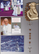 Saint Brigid of Ireland Relic Rosary Blessed by Pope Francis on 3/19/2013 at Inauguration Mass Patron of Babies & Newborns Brown Wooden Beads