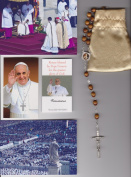 Saint Teresa of Avila Relic Rosary Blessed by Pope Francis on 3/19/2013 at Inauguration Mass Patron of Headache Sufferers Brown Beads 50cm
