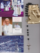 Saint Josemaria Escriva Relic Rosary Blessed by Pope Francis on 3/19/2013 at Inauguration Mass Patron of Diabetics 50cm Black Wooden Beads