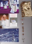 Saint Philomena Relic Rosary Blessed by Pope Francis on 3/19/2013 at Inauguration Mass Patron of Miracles 50cm Brown Wooden Beads
