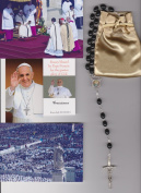 Venerable Matt Talbot Relic Rosary Blessed by Pope Francis on 3/19/2013 at Inauguration Mass Patron of Alcoholism Black Wooden Beads