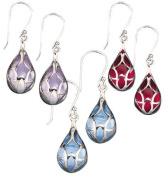 Sterling Silver Coloured Teardrop Earrings