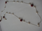 Fresh Water Pearls And Coral Handmade Jewellery 130cm