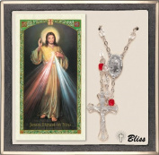 Catholic Chaplet of Divine Mercy of Jesus Rosary with Rudy Crystal Beads and Prayer Card Set by Bliss Manufacturing