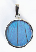 Blue Morpho Butterfly Wing Small Round Pendant