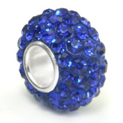 10pcs-royal blue-.925 Sterling Silver. Crystal Pave Bead Charm Fits Pandora Chamilia Kay's Troll European Story Charm Bracelets