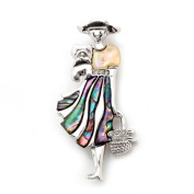 Mother of Pearl Woman with Flower Basket Design Shell Brooch Pin