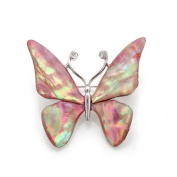 Mother of Pearl Pink Butterfly Design Abalone Shell Brooch Pin