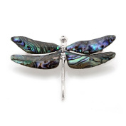 Mother of Pearl Dragonfly Design Colourful Dark Green Shell Brooch Pin