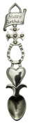 Pewter Lovespoon. 'Happy Birthday' with celtic cross, horseshoe and heart. 22cm