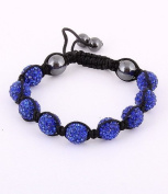 Blue Crystals Black Cord Onyx Macrame Beaded Shamballa Ball Unisex Adjustable Bracelet 11.5-12mm