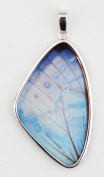 Pearl Blue Morpho Butterfly Wing Medium Wing-Shaped Pendant