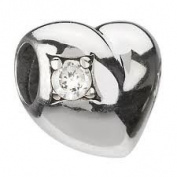 Chamilia RETIRED Silver Heart Clear CZ Bead * Authentic JA-20