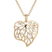 Annaleece Golden Leaf Necklace. Elements DeVries Hypoallergenic Nickel-Free 1253-ANNA
