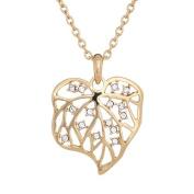 Annaleece Golden Leaf Necklace. Elements DeVries Hypoallergenic Nickel-Free 1253-ANNA