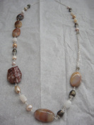Fresh Water Pearls And Gemstone Handmade Jewellery 80cm