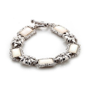 White Mother of Pearl Flower Design Rectangle Shell Link Toggle Bracelet