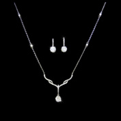 18k White Gold White Cubic Tear Drop Earrings & Cz Chain Pendant Necklace