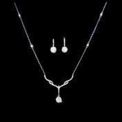 18k White Gold White Cubic Tear Drop Earrings & Cz Chain Pendant Necklace