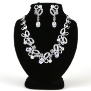 High Quality Fashion Jewellery Set Earrings & Necklace [ECSS-262] Cubic zirconia / Rhodium plated Brass - Made in KOREA