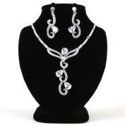 High Quality Fashion Jewellery Set Earrings & Necklace [ECSS-218] Rhodium plated Brass & Cubic Zirconia - Made in KOREA