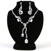 High Quality Fashion Jewellery Set Earrings & Necklace [ECSS-227] Rhodium plated Brass & Cubic Zirconia - Made in KOREA