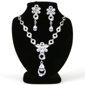 High Quality Fashion Jewellery Set Earrings & Necklace [ECSS-252] Rhodium plated Brass & Cubic Zirconia - Made in KOREA