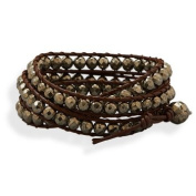"23295 23"" brown leather and pyrite bead wrap fashion bracelet. The pyrite beads are approximately 5.5mm. This bracelet has a toggle type closure. precious metal girl woman lady arm hand beuatiful gift present stars"