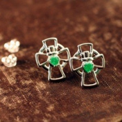 Emerald Claddagh Cross Earrings