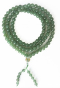 Jade 108 Bead Mala with Om Mani Padme Hum Handpainted in Gold on the Guru Bead