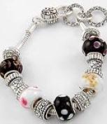 Antique Silver Tone Metal / Black & White Murano Glass Beads