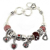 Red Heart Theme Charm Bracelet