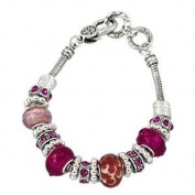 Fuchsia Murano Beads with Crystal Rhinestones Charm Bracelet