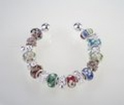 Multi Colour Murano Charm Bangle Bracelet