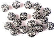 Sterling Beads with Granulation and Leaves(Price Per Four Pieces) - Sterling Silver