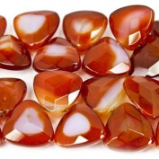 """Carnelian Beads Faceted Trillions 13x13mm avg Corner Drilled, 8"""" length, 30 pcs"""