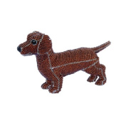 Grass Roots Creations Daschound Dog Beadworx Sculpture, Red