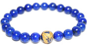 Blue Lapis Lazuli 8mm Bracelet with Dragon Bead