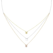 New Rose & Yellow Gold Over 925 Sterling Silver 'Clover Leaf' 3 Tier Cz Necklace
