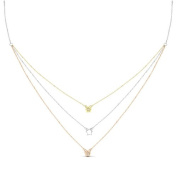 New Rose & Yellow Gold Over 925 Sterling Silver 'stars' 3 Tier Cz Necklace
